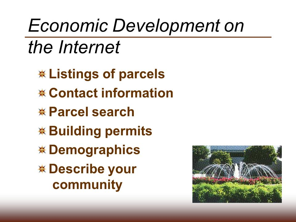 Economic Development on the Internet