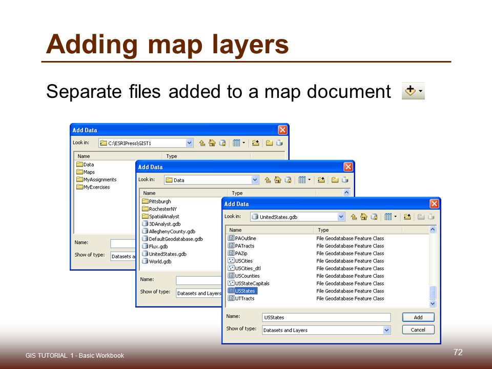 Adding map layers Separate files added to a map document