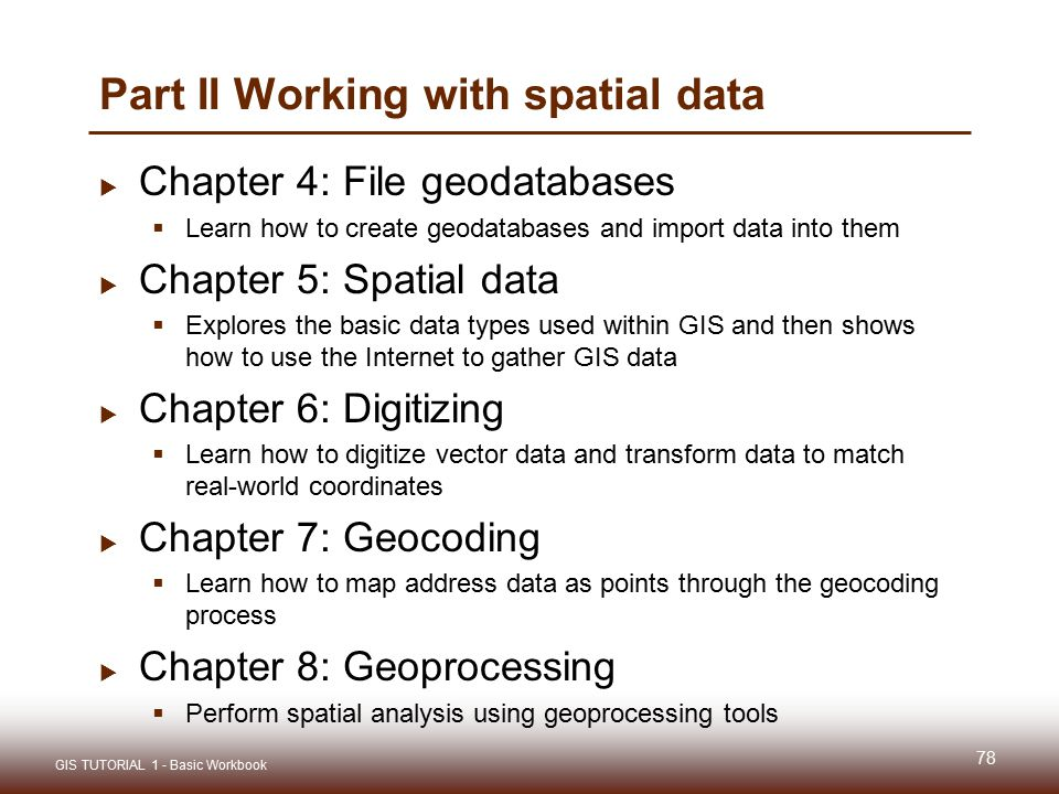 Part II Working with spatial data