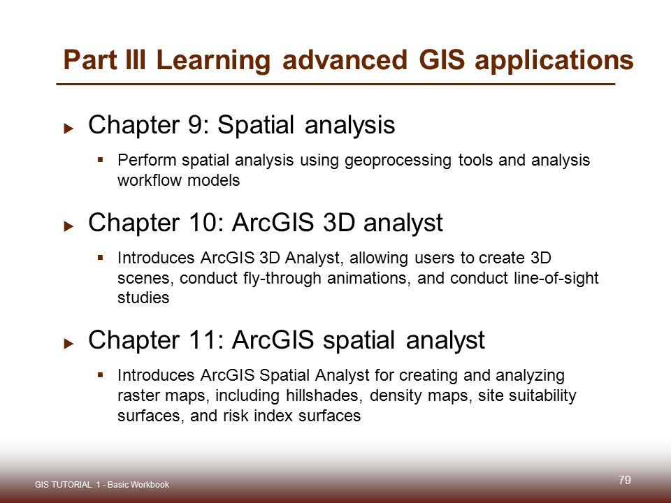 Part III Learning advanced GIS applications