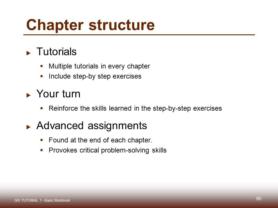 Chapter structure Tutorials Your turn Advanced assignments