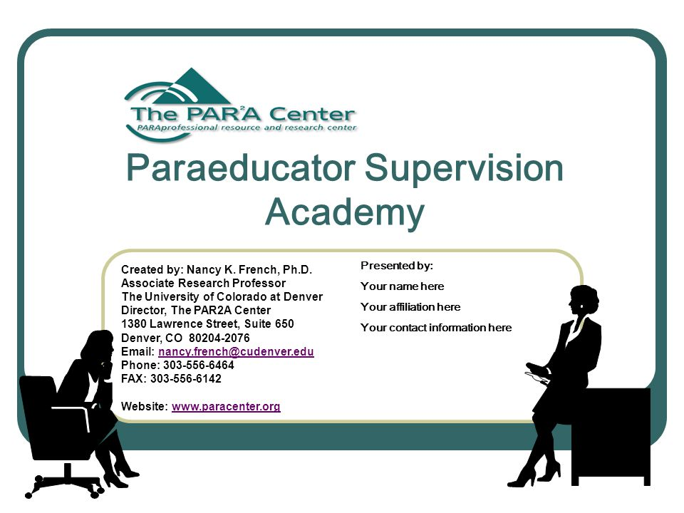Paraeducator Supervision Academy