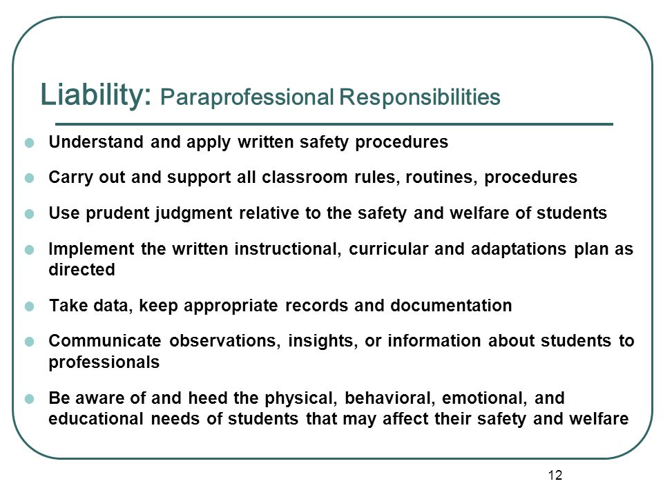 Liability: Paraprofessional Responsibilities