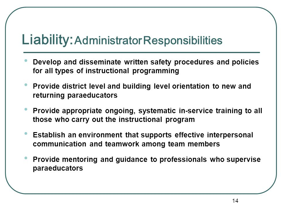 Liability: Administrator Responsibilities