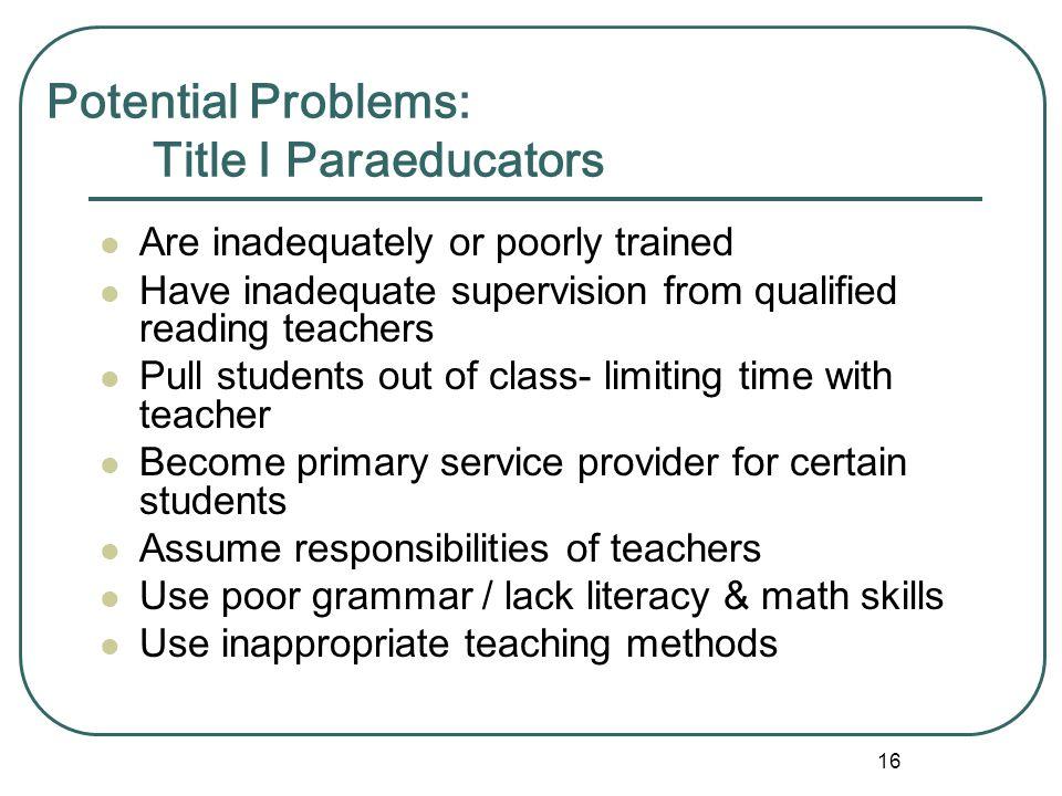 Potential Problems: Title I Paraeducators