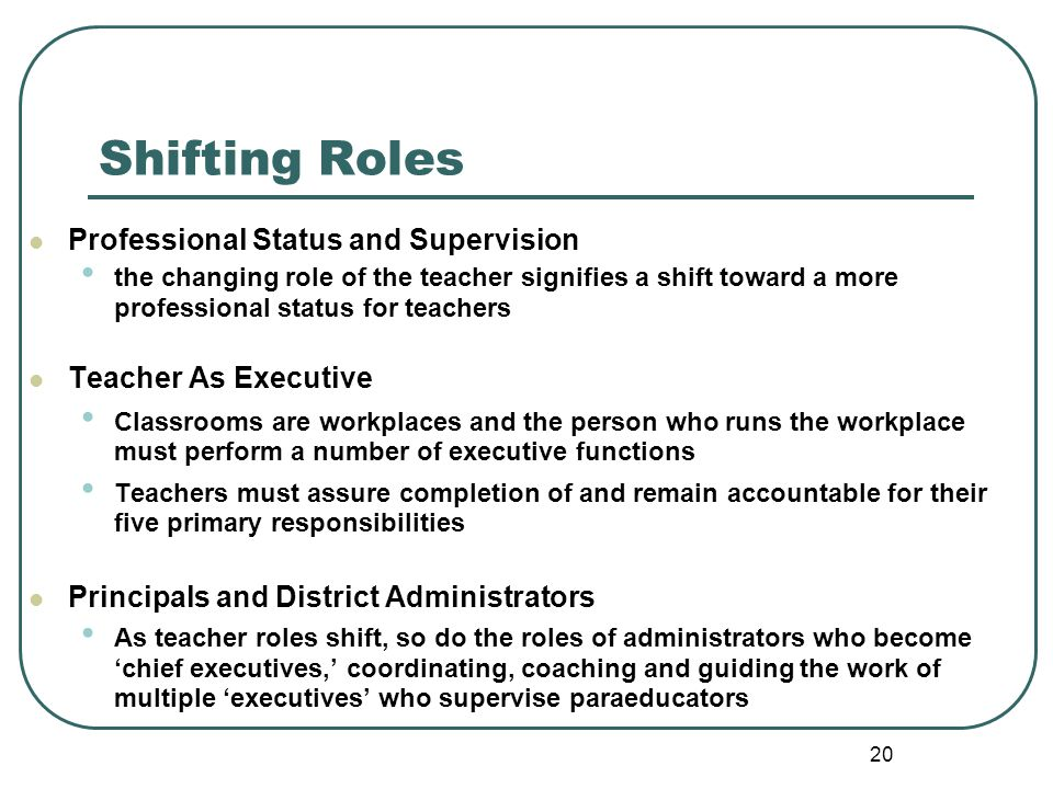Shifting Roles Professional Status and Supervision