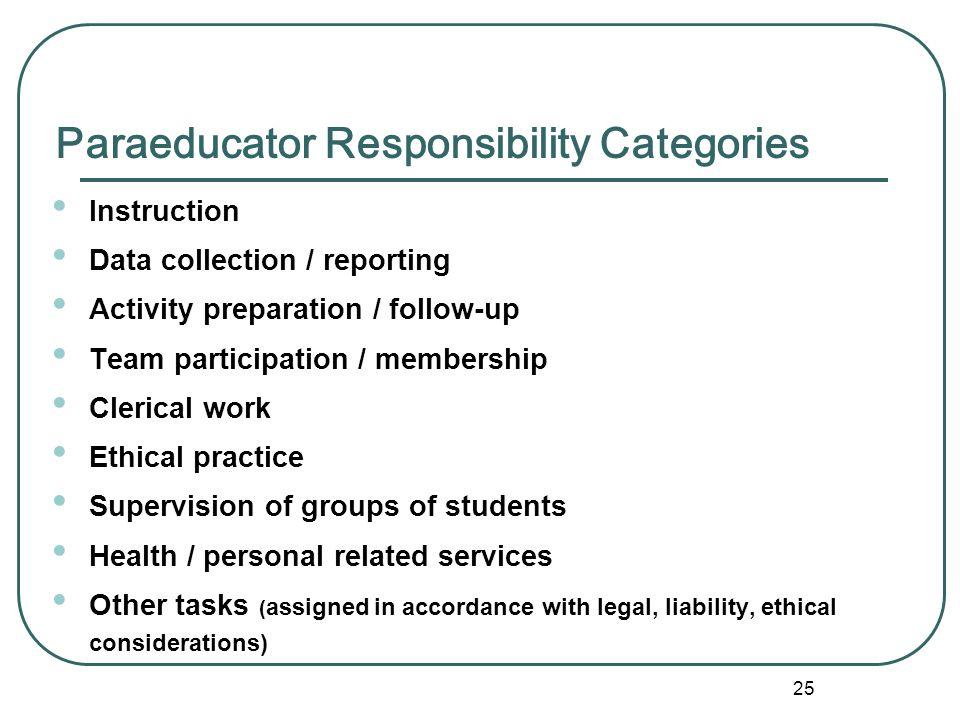 Paraeducator Responsibility Categories
