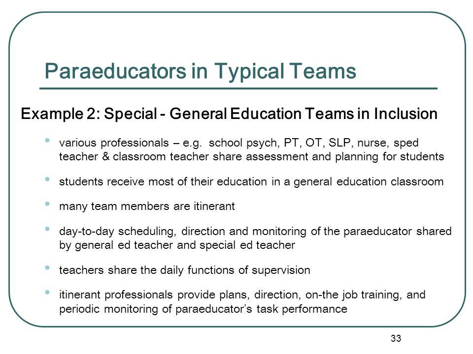 Paraeducators in Typical Teams