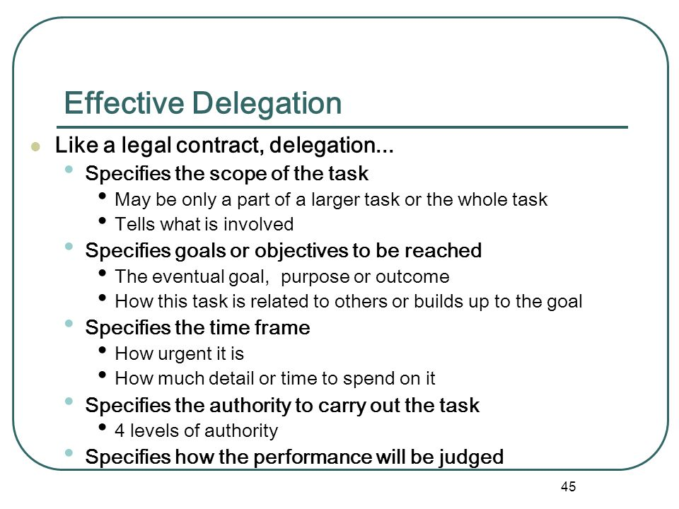 Effective Delegation Like a legal contract, delegation...