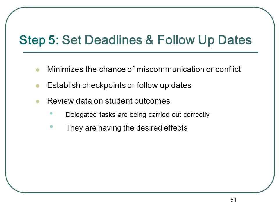 Step 5: Set Deadlines & Follow Up Dates