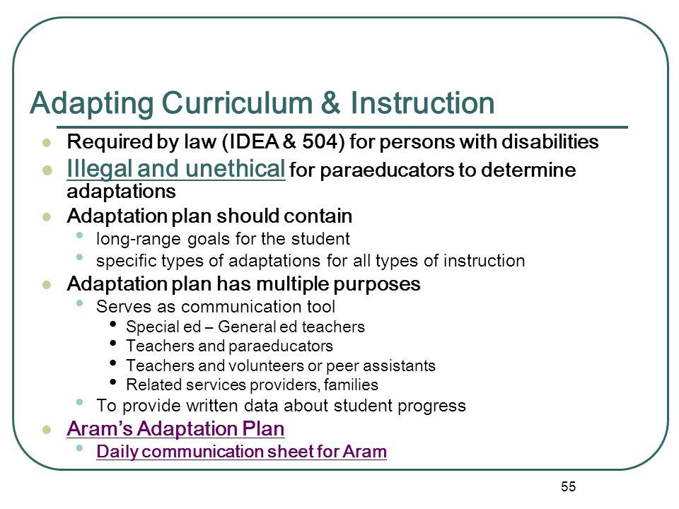 Adapting Curriculum & Instruction