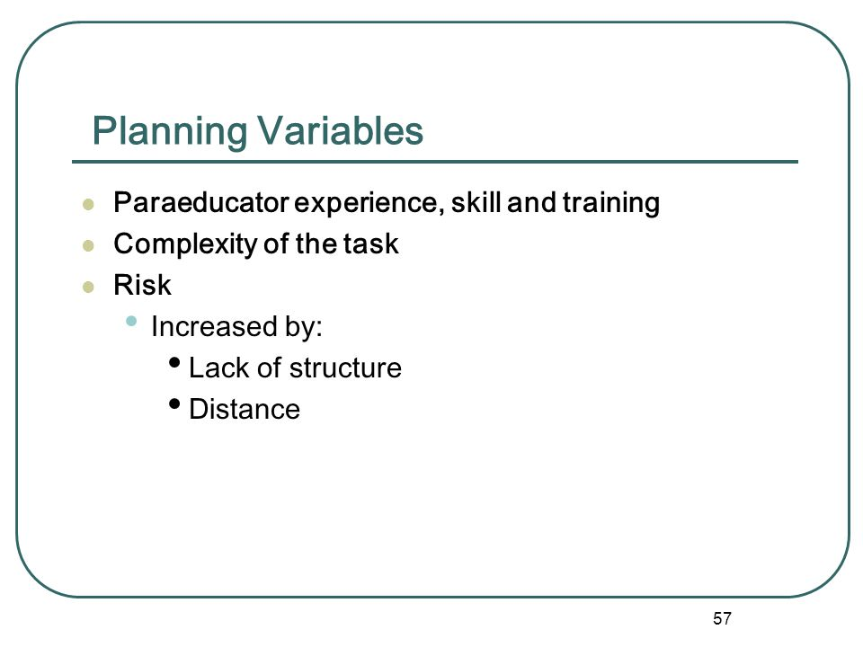 Planning Variables Paraeducator experience, skill and training