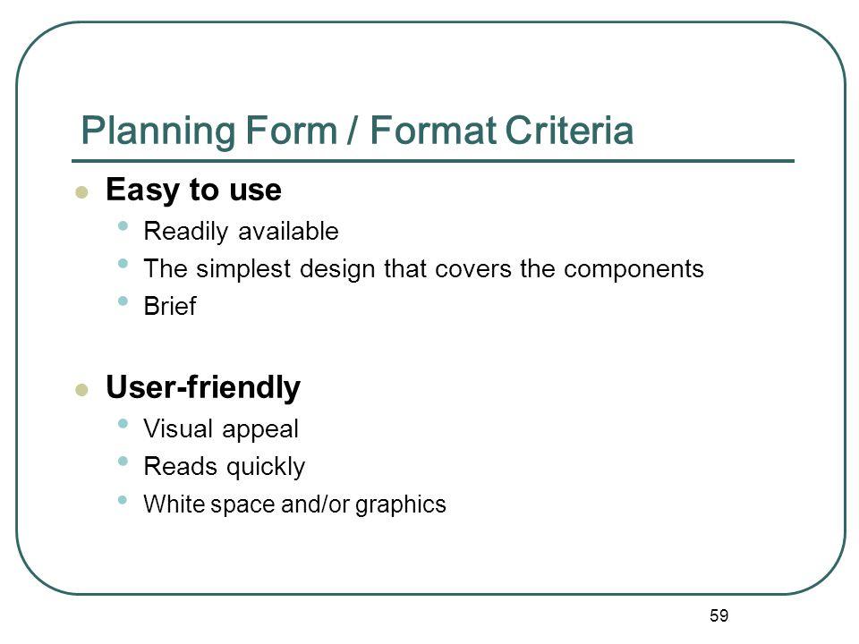 Planning Form / Format Criteria