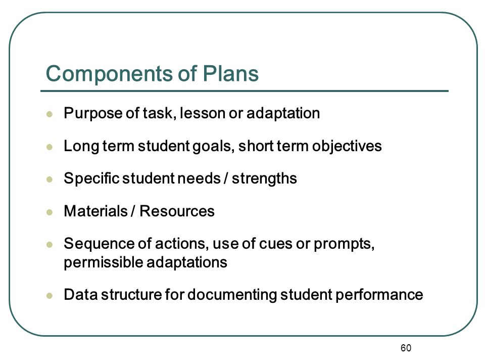Components of Plans Purpose of task, lesson or adaptation