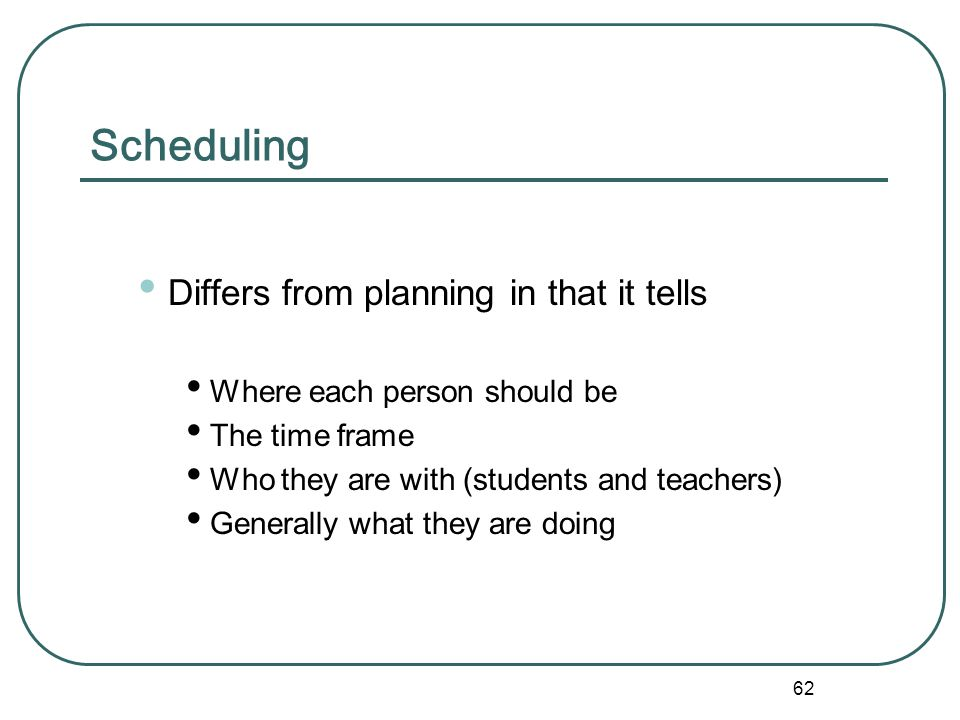 Scheduling Differs from planning in that it tells