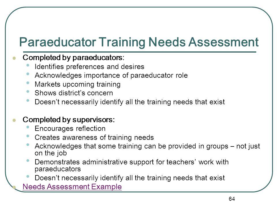 Paraeducator Training Needs Assessment