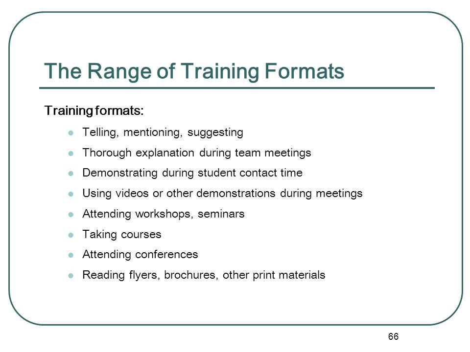 The Range of Training Formats