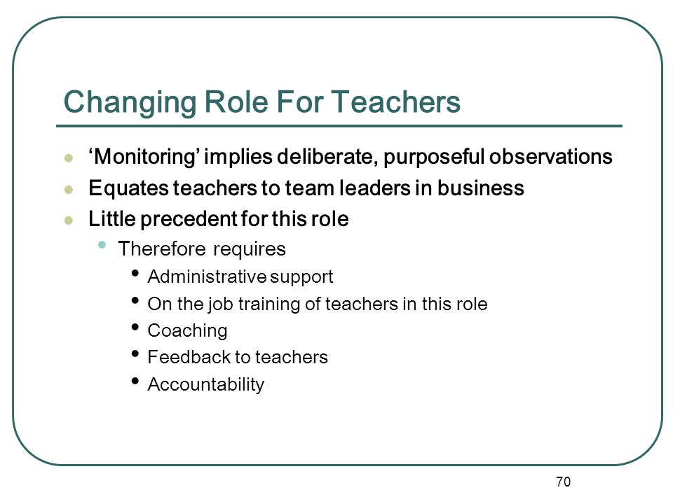Changing Role For Teachers