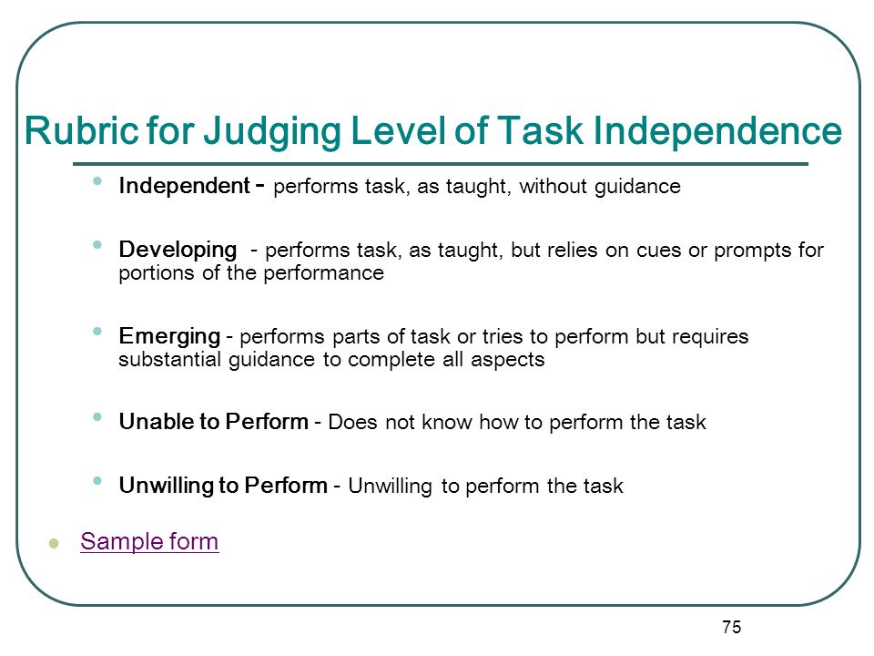Rubric for Judging Level of Task Independence