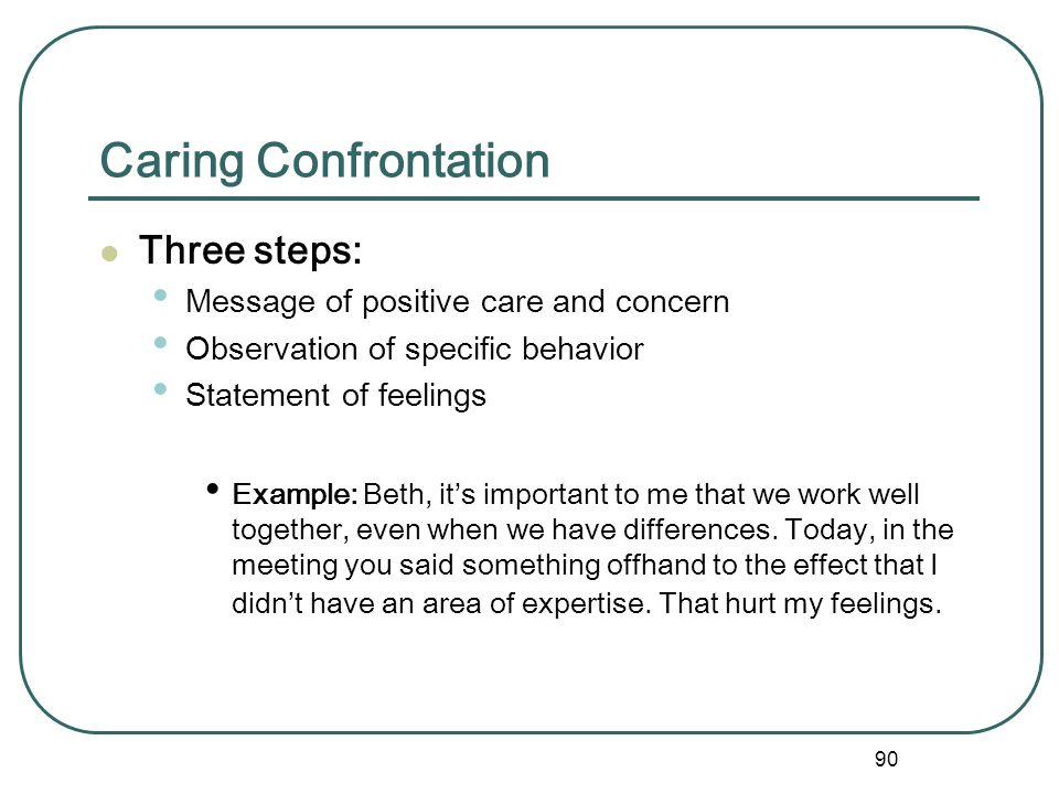 Caring Confrontation Three steps: Message of positive care and concern