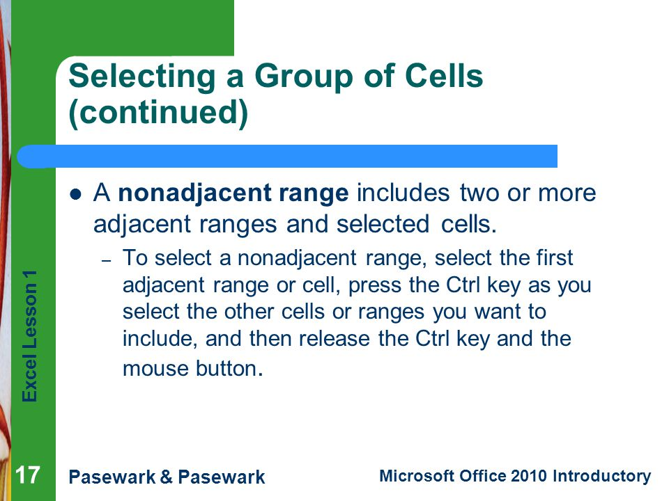Selecting a Group of Cells (continued)