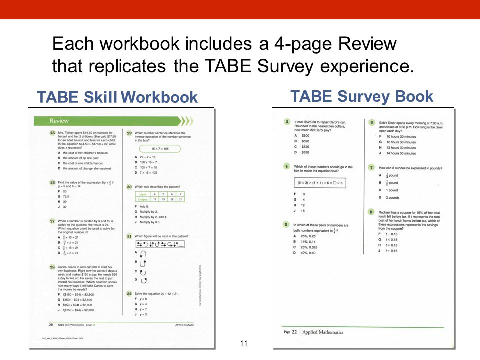 Each workbook includes a 4-page Review that replicates the TABE Survey experience.