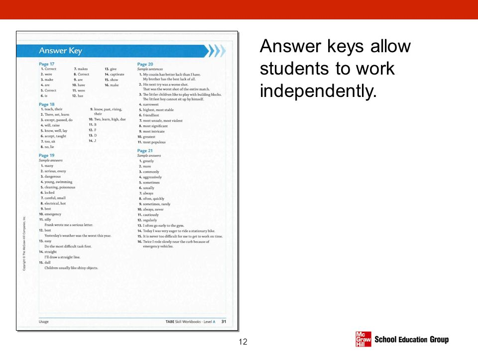 Answer keys allow students to work independently.