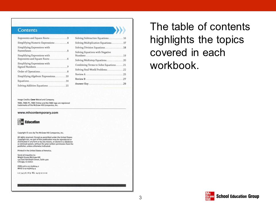 The table of contents highlights the topics covered in each workbook.