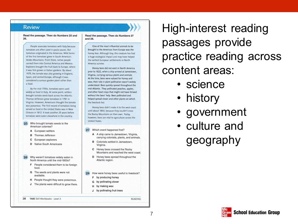 High-interest reading passages provide practice reading across content areas: