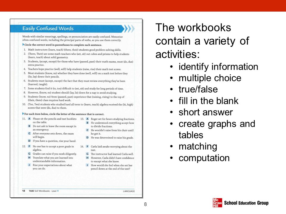 The workbooks contain a variety of activities: