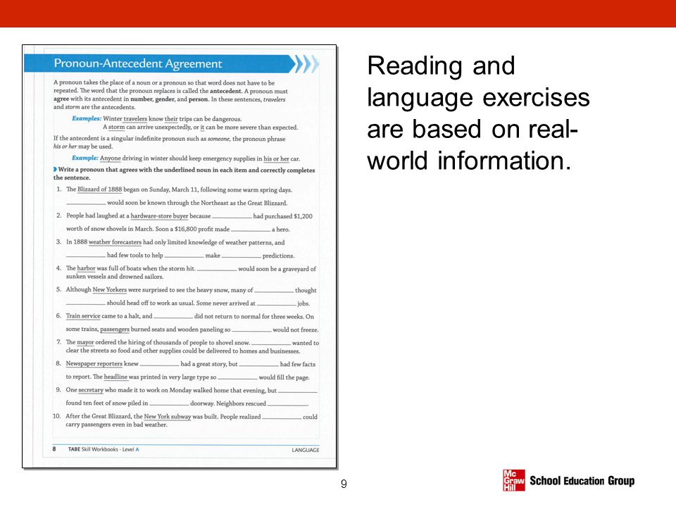 Reading and language exercises are based on real-world information.