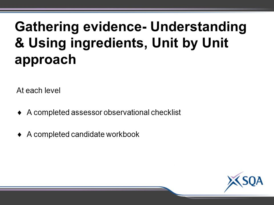 Gathering evidence- Understanding & Using ingredients, Unit by Unit approach