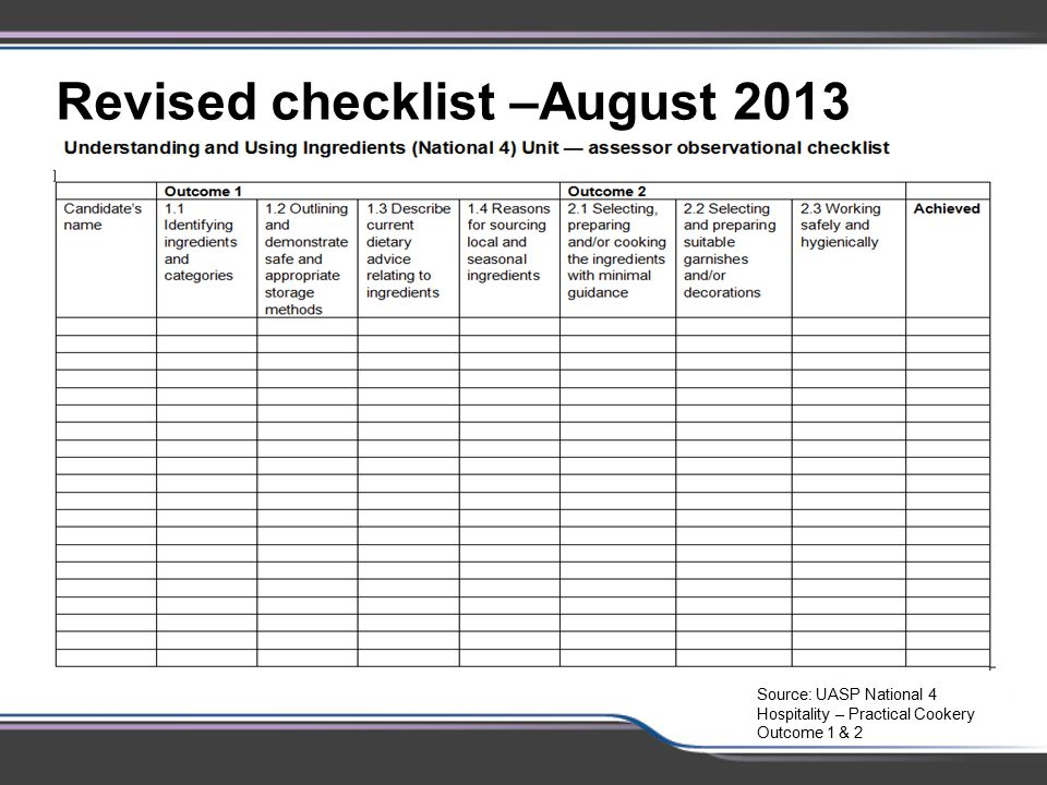Revised checklist –August 2013 – to be consistent with package 2