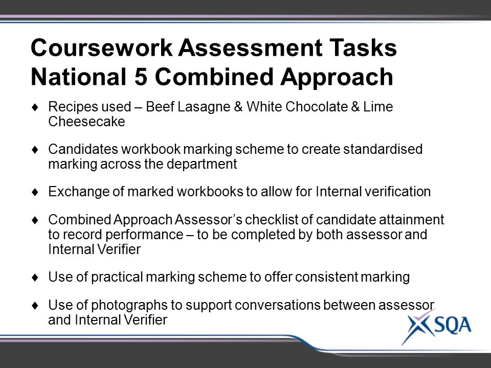 Coursework Assessment Tasks National 5 Combined Approach
