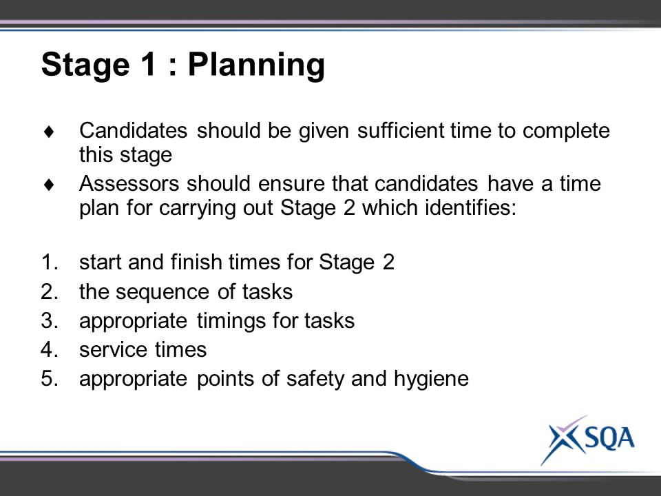 Stage 1 : Planning Candidates should be given sufficient time to complete this stage.