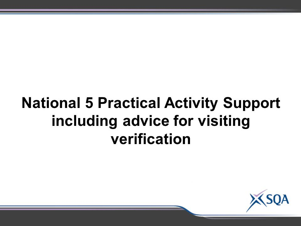 National 5 Practical Activity Support