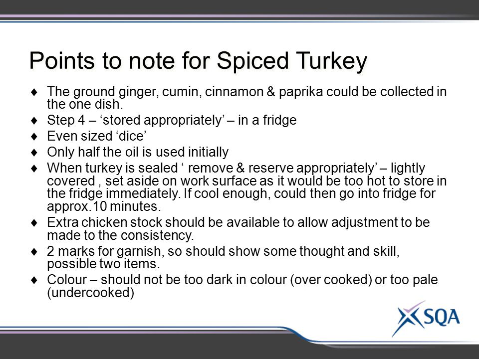 Points to note for Spiced Turkey