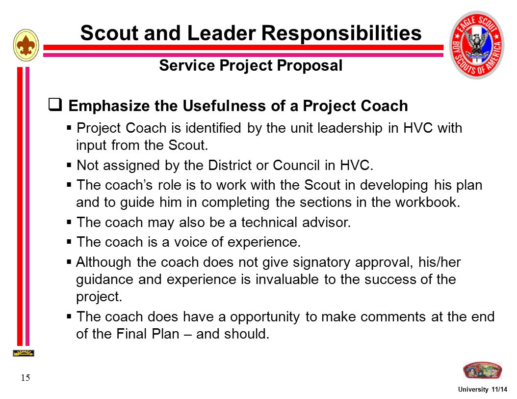 Scout and Leader Responsibilities Service Project Proposal