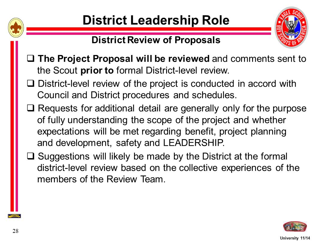 District Leadership Role District Review of Proposals