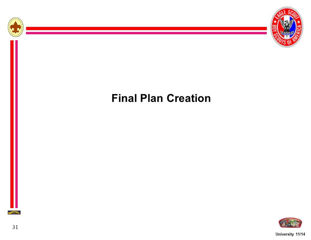 Final Plan Creation