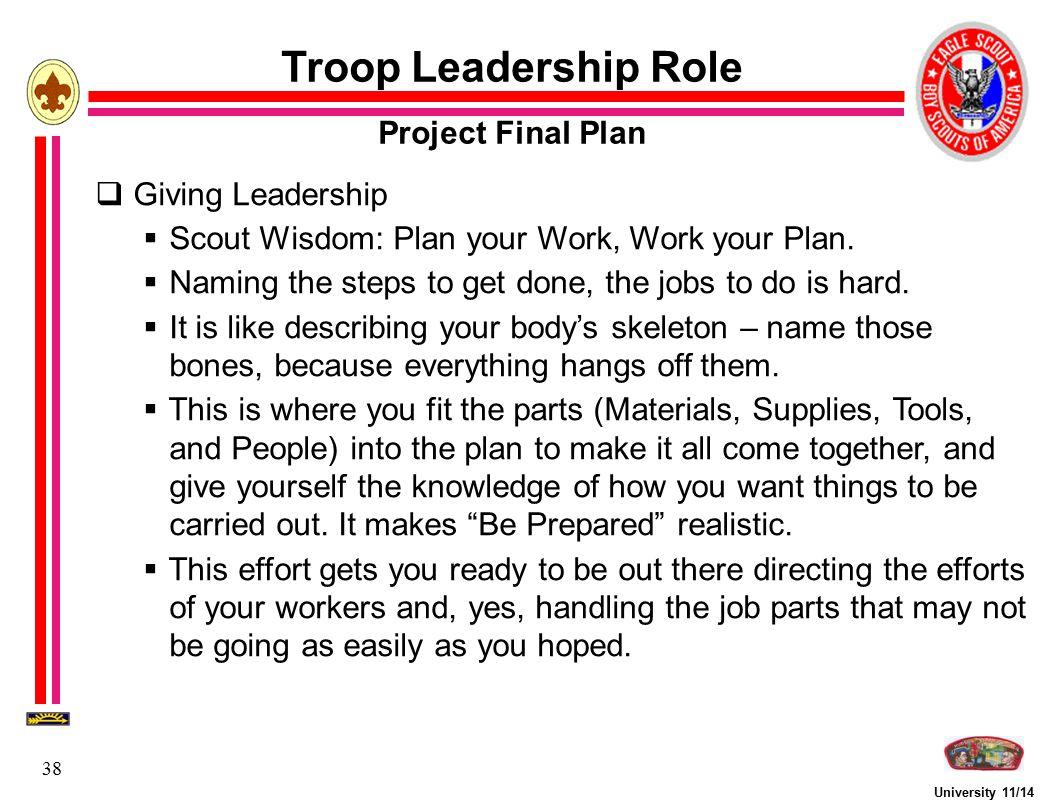 Troop Leadership Role Project Final Plan Giving Leadership