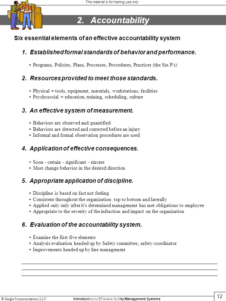 2. Accountability Six essential elements of an effective accountability system. 1. Established formal standards of behavior and performance.