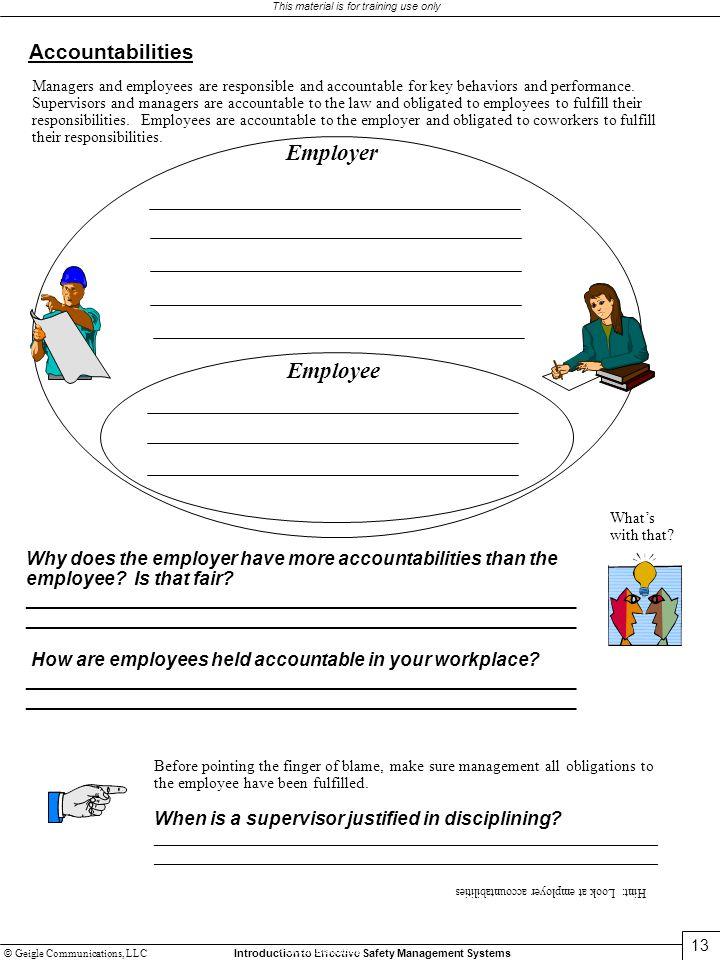 Employer Employee Accountabilities