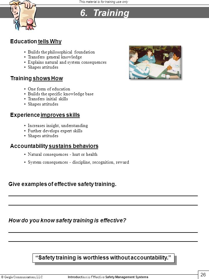 6. Training Education tells Why Training shows How