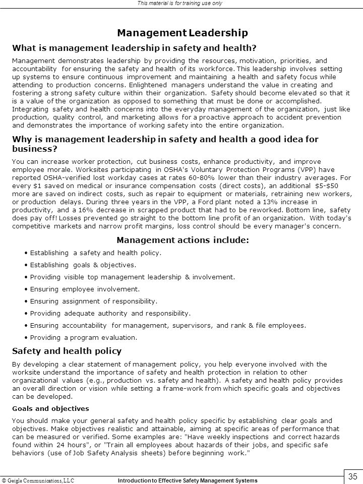 Management Leadership Management actions include:
