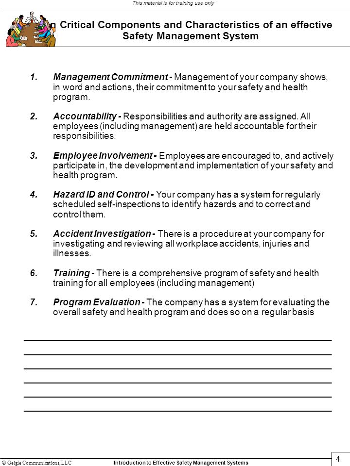 Seven Critical Components and Characteristics of an effective Safety Management System