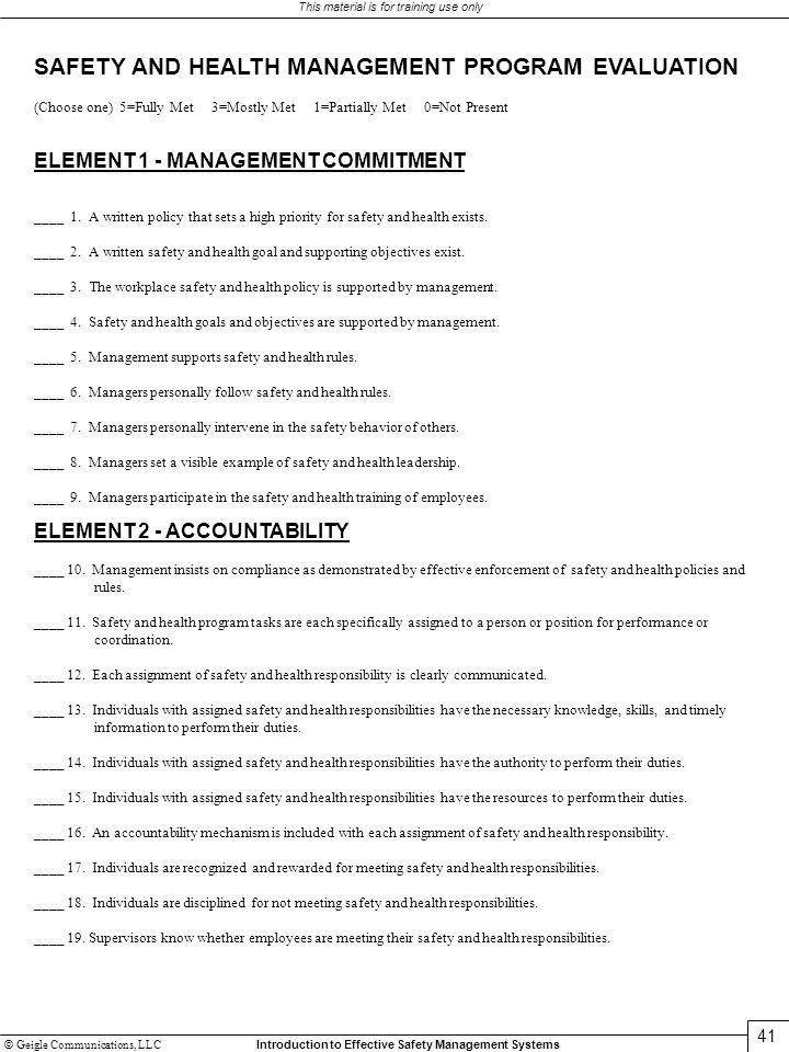 SAFETY AND HEALTH MANAGEMENT PROGRAM EVALUATION