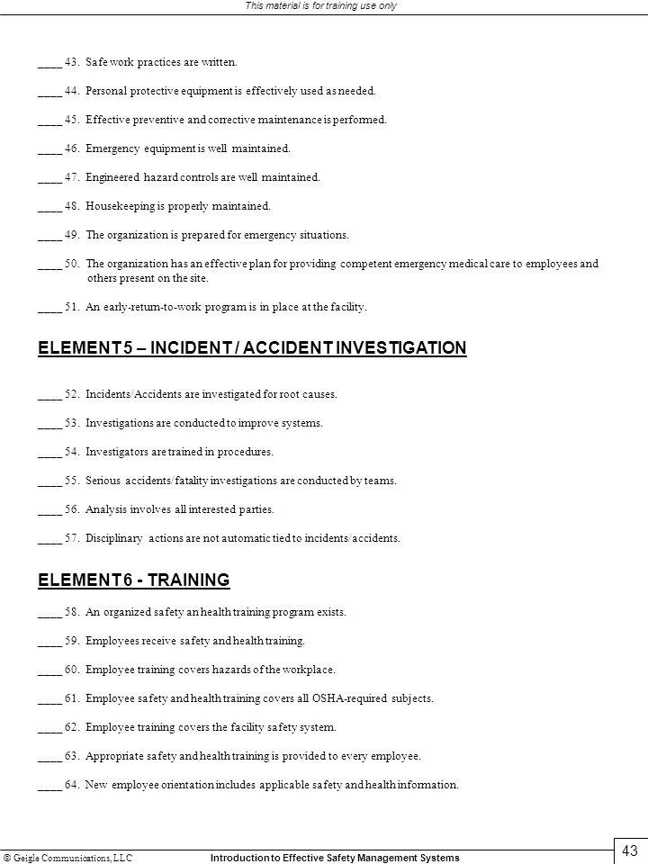 ELEMENT 5 – INCIDENT / ACCIDENT INVESTIGATION