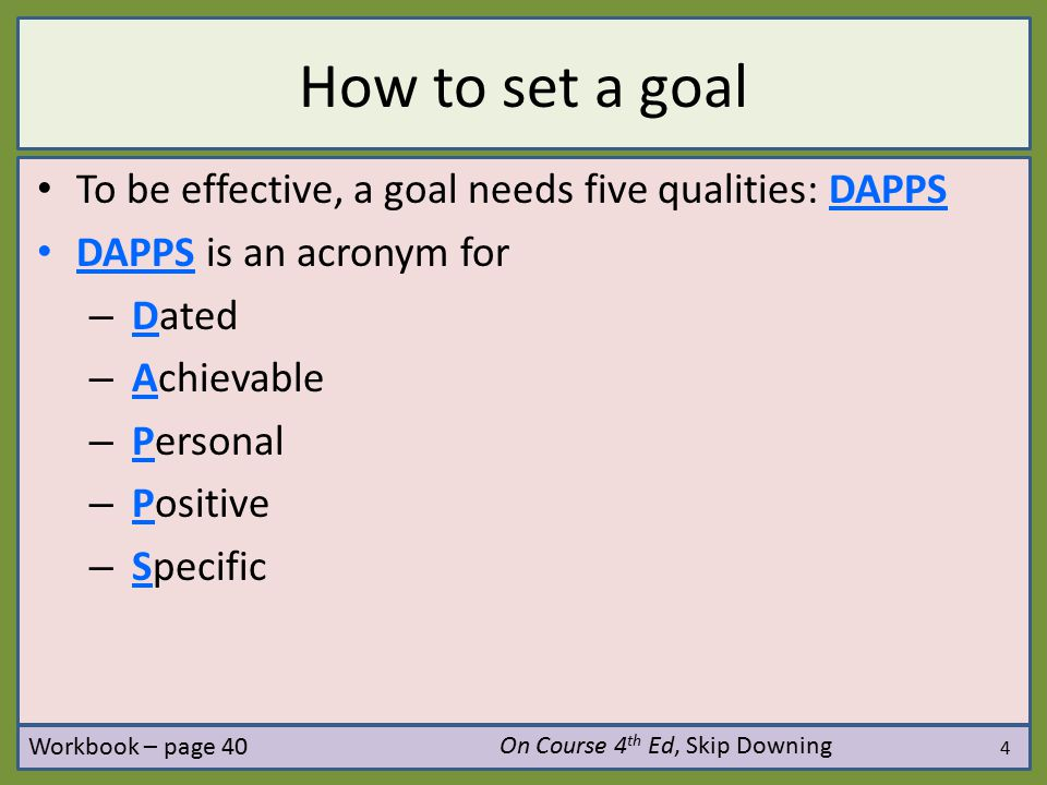 How to set a goal To be effective, a goal needs five qualities: DAPPS