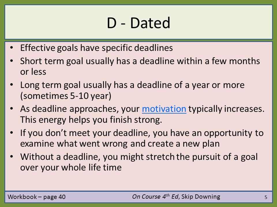 D - Dated Effective goals have specific deadlines